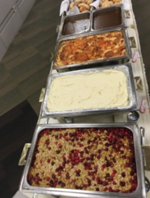 Cranberry Stuffing, Mashed Potatoes, Mediterranean Platers