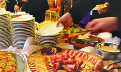 catered lunch buffet table